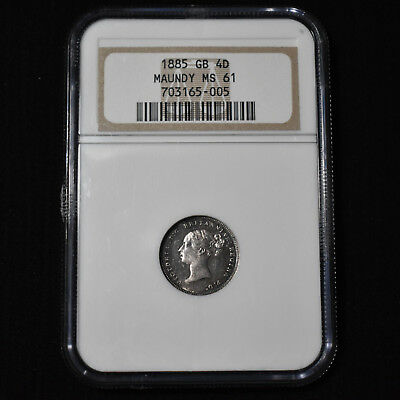 1885 Great Britain, Victoria Maundy 4 Pence, Brilliant Uncirculated, Ngc Ms61