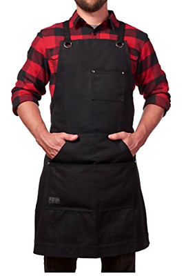 Heavy Duty Waxed Canvas Work Apron With Tool Pockets Black Cross-back Straps &