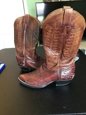 0b3f2523824 COWTOWN MEN'S Brown Round Toe Caiman Western Boots SIZE 11EE ...