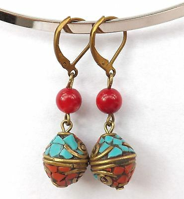 "1.25"" Nepal brass Turquoise,red Coral beads handmade earrings"