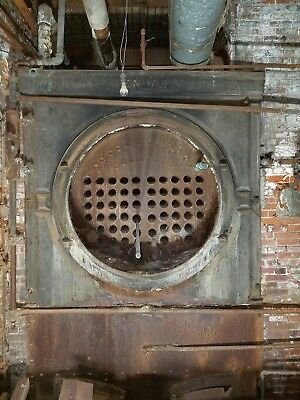 Erie City Iron Works Industrial Fire Tube Coal Steam Boiler, Antique vintage