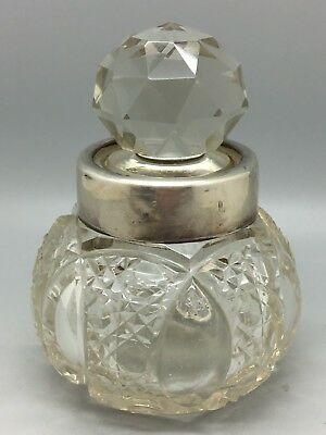 Deep Cut Solid Silver Hallmarked Crystal Glass Perfume Bottle - Miller Brothers