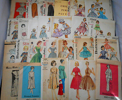 25 UNCUT Vintage Patterns 1940-60 Women Teen Child Simp Vogue McCall Advance +