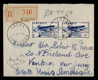 1946 French Cameroon Registered Eseka To Usa