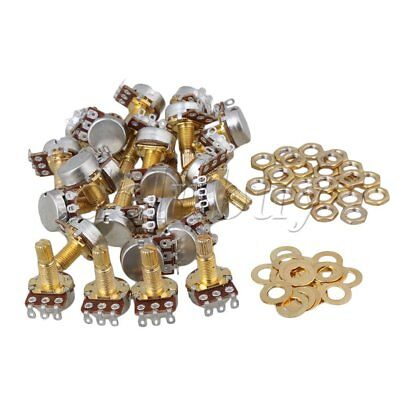100Pcs B500K Audio Tone 18mm Shaft Electric Guitar Bass Potentiometer Gold