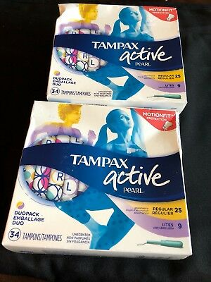 Tampax Pearl Active DuoPack Tampons, 34ct x2 New Sealed