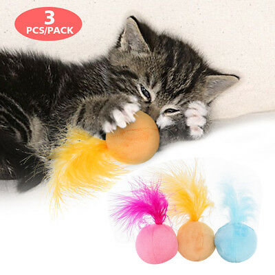 3pcs Teaser Cat Ball Toys with Feather Kitten Interactive Play Toys Catnip Sound