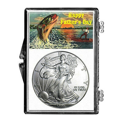 1998 $1 American Silver Eagle Snaplock Holder - Father's Day Fishing Design