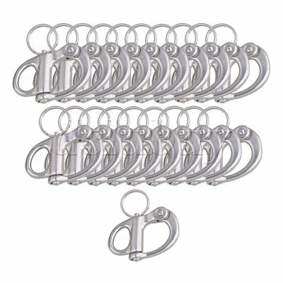 20pieces 304 Stainless 3.5cm Rigging Sailing Fixed Bail Snap Shackle Hard Silver
