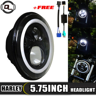 "5-3/4"" 5.75 inch LED Projector Headlight Daymaker Halo for Harley Davidson Dyna"