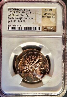 Unusually large and heavy Shekel of Tyre, CY13, NGC Ch VF. Classic Beauty!