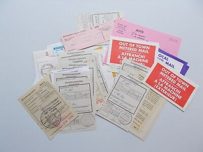 65 x registered mail receipts, proof of posting etc. Mainly Germany. See pics.