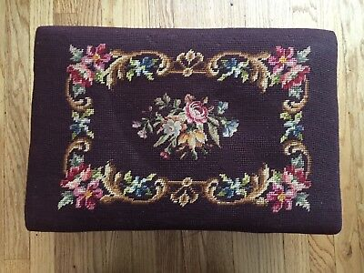 Antique Victorian Eastlake Carved Walnut Needlepoint Foot Stool Ottoman