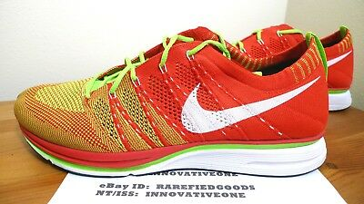 sports shoes 32841 2cc01 Nike Flyknit Trainer University Red Electric Green White Sz 10.5  532984 631