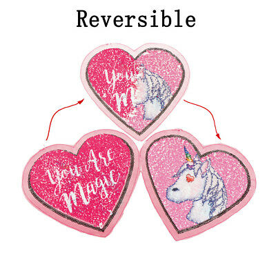 Heart Unicorn Reversible Sequins Sew On Patches for DIY Clothes Patch Applique  