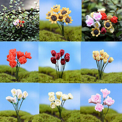 1~6X Miniature Dollhouse Simulation Flower Rose Fairy Garden DIY Bonsai Dec OQ
