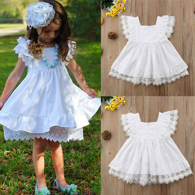 Summer Cute Kids Toddler Baby Girl Clothes White Lace Dress Party Dress