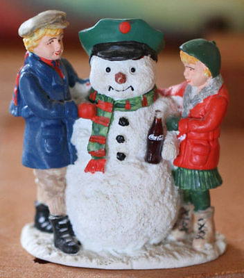 Coca-Cola Town Square Collection 1992 Thirsty SNOWMAN w/Boy/Girl figures