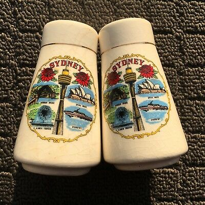 "SYDNEY ""White"" Set of 2 Collectable Souvenir Ceramic Salt & Pepper Shakers"