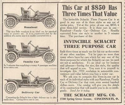 1910 The Schacht Runabout-Family Car & Delivery Car, Motor Car Original Ad