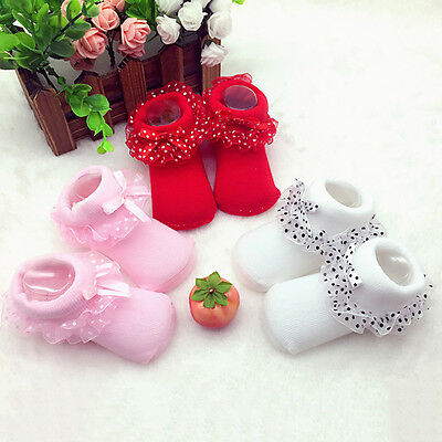 New Infant Newborn Baby Girl Soft Non-Slip Lace Flowers Toddler Cotton Sock Shoe