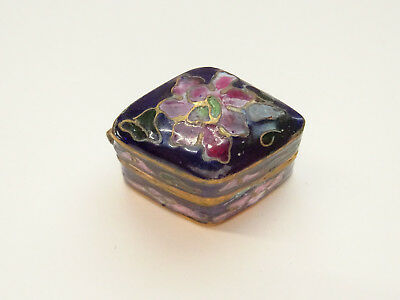Alte Pillendose Schmuckdose Cloisonne Emaill Pillbox Box Dose Floral Miniatur 7