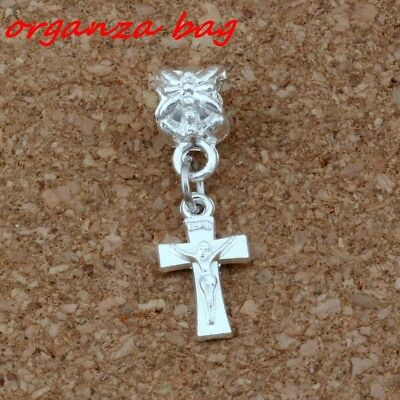 Dangle Silver plated Jesus Cross Charm Big Hole Bead Fit European Charm Bracelet