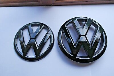 Vw Polo Full Gloss Black Front Grill+Rear Boot Badge Volkswagen Polo 6R Gti Tdi