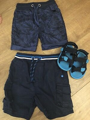 Boys Blue Summer Shorts 1.5 -2 Years & Sandals Size 5 18-24 Months 2 Weeks Old