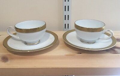 2x Boots Imperial Gold Cup Saucer fine china