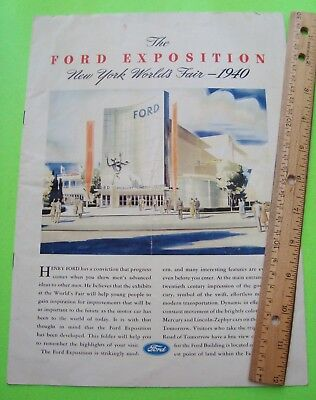 1940 FORD EXPOSITION AT THE NEW YORK WORLD'S FAIR BIG COLOR BROCHURE 8-pg V-GOOD