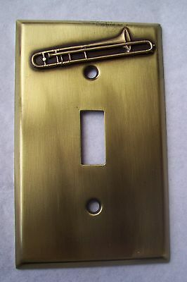 Light Switch Plate Cover  Brass Single Toggle -TROMBONE MUSICAL  DESIGN
