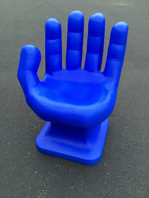 "GIANT Cobalt Blue left HAND SHAPED CHAIR 32"" tall adult 70's Retro EAMES iCarly"