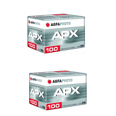 2 Rolls Agfa APX 100 36 Exposure Pro Black and White Negative 35mm Film