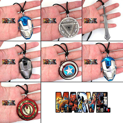 Marvel Avengers Iron Man Spider-Man Thor Captain America Leather Rope Necklace