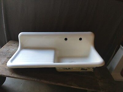 "Antique 42"" Cast Iron White Porcelain High Back Farm Sink Vtg Standard 180-18E"
