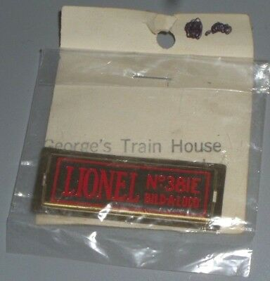 Mth Lionel Standard Gauge 381E Bild-A-Loco Locomotive (1) Name Plate Part - New