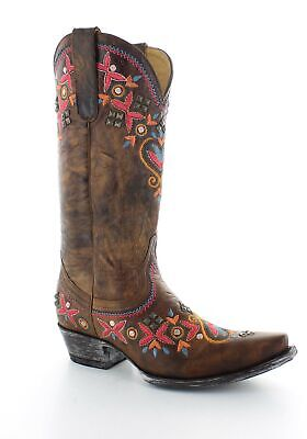 """YL261-2 ALAMEDA NAVY MULTI FLORAL EMBROIDERED 13/"""" LEATHER BOOTS"""