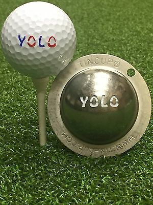1 only TIN CUP GOLF BALL MARKER - YOLO, You Only Live Once.  EASY TO DO