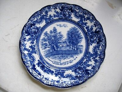 Colonial Pottery Stoke England Flow Blue Plate TO GO Charter Oak Tree & COLONIAL POTTERY STOKE England Flow Blue Plate TO GO Charter Oak ...