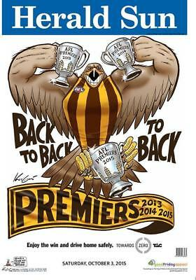 2015 Afl Hawthorn Grand Final Premiership Poster Mark Knight Herald Sun