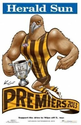 2013 Afl Hawthorn Grand Final Premiership Poster Mark Knight Herald Sun Hawks