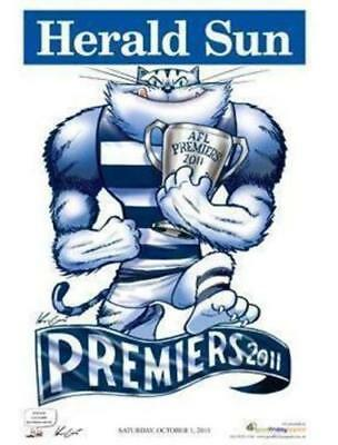 2011 Afl Geelong Grand Final Premiership Poster Mark Knight Herald Sun Cats