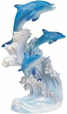 "8"" Marine Life Three Dolphins Statue Figurine Figure Sea Ocean Nautical Decor"