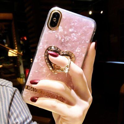 Bling Crystal Diamond Ring Holder Stand Kickstand Case Cover For IPhone X 6 7 8+