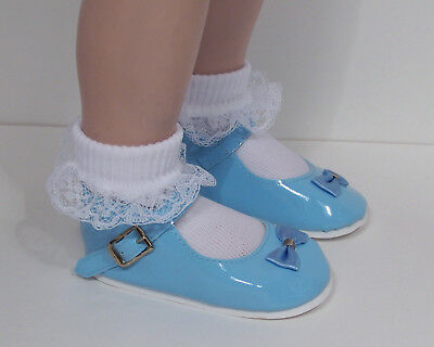 Debs WHITE Patent Mary Jane Doll Shoes w//Satin Bows Fits My Twinn Poseable