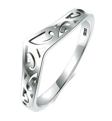 Filigree Celtic Chevron Thumb Ring 925 Sterling Silver Band Sizes 3-12 Band New