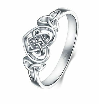 925 Sterling Silver Eternity Wedding Band Stackable Ring  Celtic Knot Heart  New