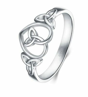 925 Sterling Silver Eternity Wedding Band  Ring  Celtic Knot Simple Heart  New