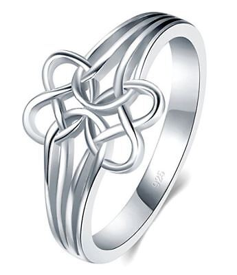 925 Sterling Silver Ring Celtic Knot Double Heart Tarnish Resistant Wedding Band